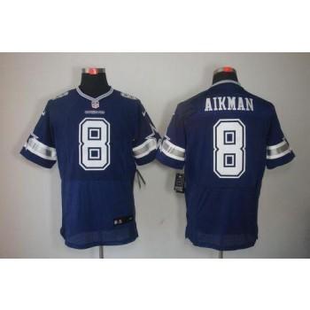Nike Dallas Cowboys No.8 Troy Aikman Navy Blue Male Stitched Elite Jersey