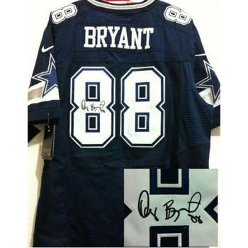 Nike Dallas Cowboys 88 Dez Bryant Navy Blue Male Elite Autographed jersey