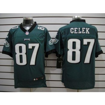 Nike Philadelphia Eagles No.87 Brent Celek Midnight Green Elite Jersey