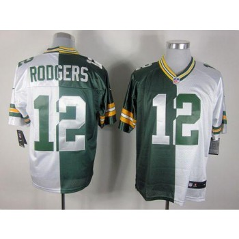 Nike Green Bay Packers No.12 Aaron Rodgers Green White Elite Split Stitched Football Jersey