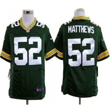 Nike Green Bay Packers No.52 Clay Matthews Green Game Stitched Football Jersey