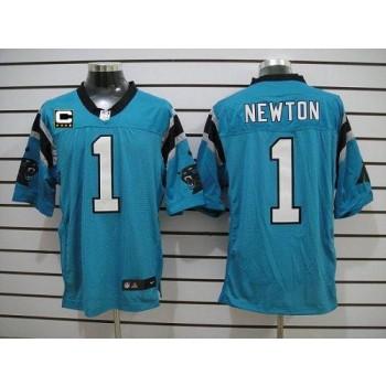 Nike Carolina Panthers 1 Cam Newton Blue With C Patch Elite Football Jersey