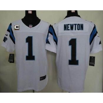 Nike Carolina Panthers 1 Cam Newton White With C Patch Elite Football Jersey
