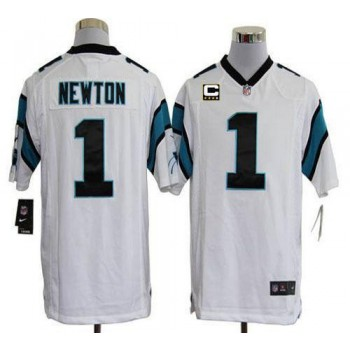 Nike Carolina Panthers 1 Cam Newton White With C Patch Game Football Jersey