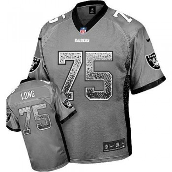 Nike Oakland Raiders No.75 Howie Long Grey Embroidered Elite Drift Fashion Jersey