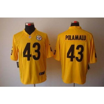 Nike Pittsburgh Steelers No.43 Troy Polamalu Gold Game Jersey