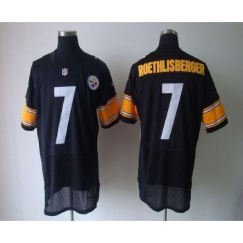 Nike Pittsburgh Steelers No.7 Ben Roethlisberger Black Elite Jersey