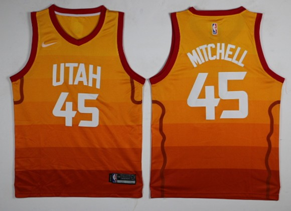 c26ab22a109 NBA Jazz 45 Donovan Mitchell City Edition Red Gold Swingman Men Jersey