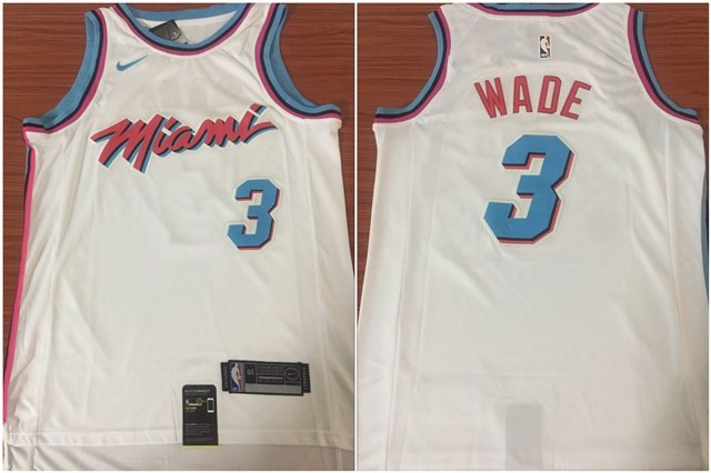 NBA Heat 3 Dwyane Wade White Nike City Edition Swingman Men Jersey cde989b33