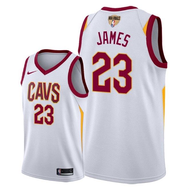 f32124aa2 NBA Cavaliers 23 LeBron James 2018 NBA Finals Patch White Men Jersey