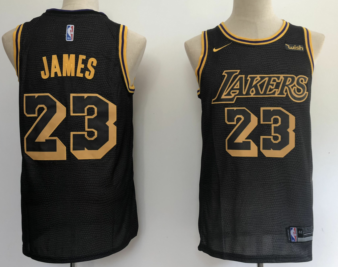 newest 58114 e7400 NBA Lakers 23 LeBron James 2018 City Eidition Black Men Jersey