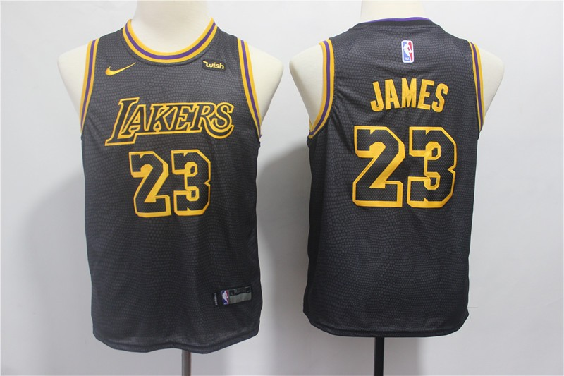 8ccf070e1 NBA Lakers 23 LeBron James Black Nike City Edition Youth Jersey