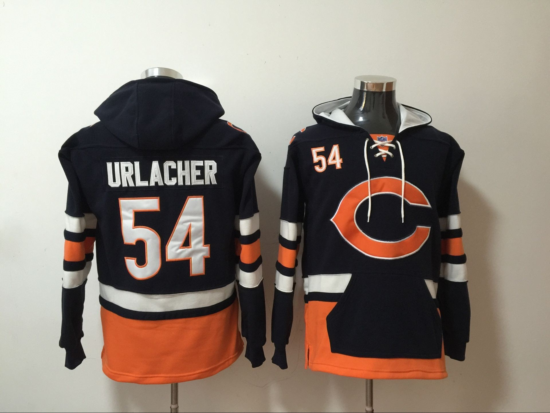 19c1257c1 Nike Bears 54 Brian Urlacher Navy All Stitched Hooded Men Sweatshirt