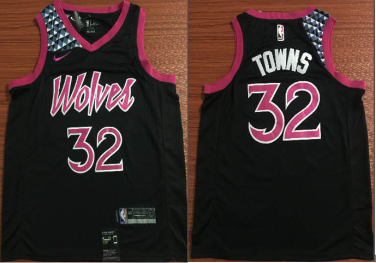 9bd2c0bd5f26 NBA Timberwolves 32 Karl-Anthony Towns 2018-19 City Edition Purple Nike Men  Jersey