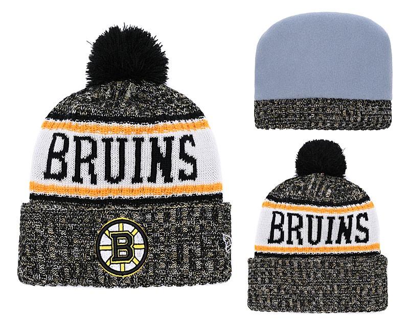 b49483fe061 NHL Bruins Team Logo Fashion Pom Knit Hat YD