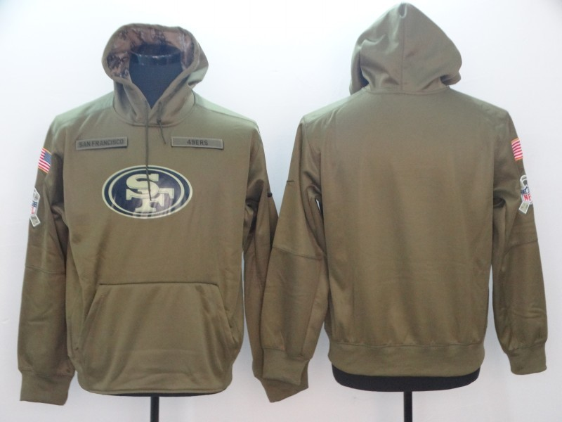 04baf5352f8 NFL San Francisco 49ers Nike 2018 Salute to Service Sideline Therma  Performance Pullover Hoodie Olive