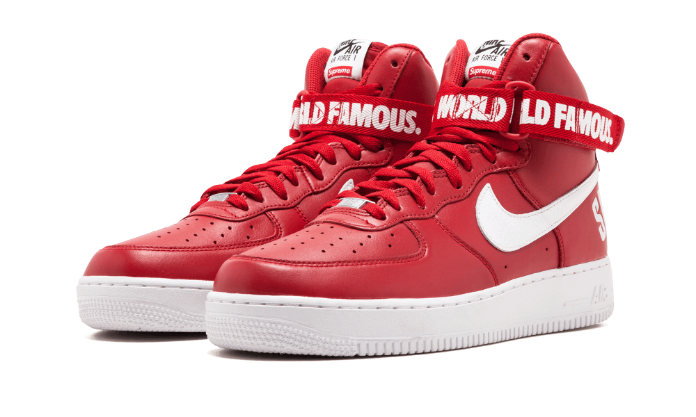 """promo code e17cc d7d02 Nike Air Force 1 High Supreme """"World Famous"""" Red Shoes"""