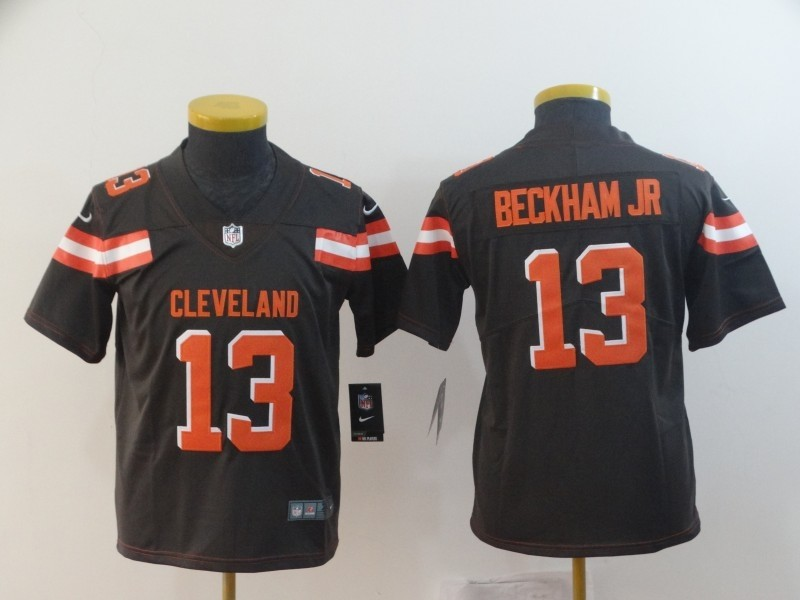 ef6cae450fe Nike Browns 13 Odell Beckham Jr Brown Vapor Untouchable Limited Youth Jersey