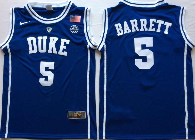 af7c4dbcef5d NCAA Duke Blue Devils 5 RJ Barrett Blue Nike College Basketball Men Jersey
