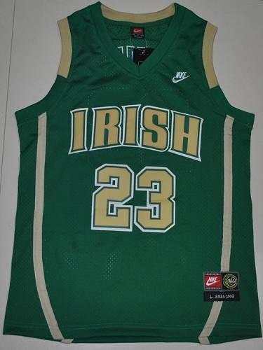 5b62806ef NCAA Notre Dame Fighting Irish 23 Lebron James Green Basketball Men Jersey