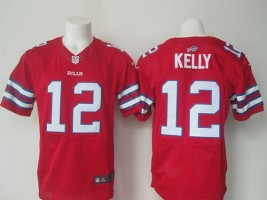 reputable site b93b3 dcb52 Nike Bills 12 Jim Kelly Red Men Stitched NFL Elite Color ...