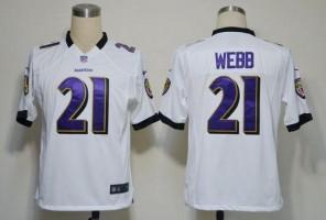 Nike NFL Baltimore Ravens 21 Lardarius Webb White NFL Game Football Jersey