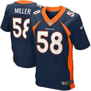 Nike Denver Broncos No.58 Von Miller Navy Blue Elite NFL Jersey