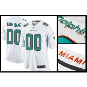 NFL Dolphins White Football Nike Customized Men Jersey