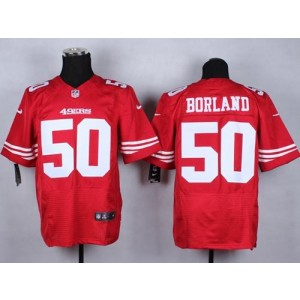 1712542f7 Nike 49ers 50 Chris Borland Red Team Color Men Stitched NFL Elite Jersey