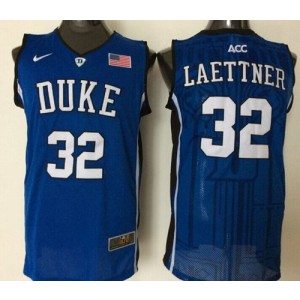 NCAA Duke Blue Devils 32 Christian Laettner Blue Basketball Men Jersey