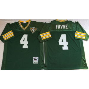 Mitchell and Ness Packers 4 Brett Favre Green With 75 Anniversary Patch Throwback NFL Jersey