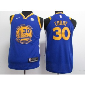 NBA Warriors 30 Stephen Curry 2017-18 Season Blue Nike Youth Jersey
