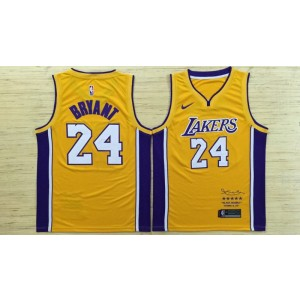 NBA Lakers 24 Kobe Bryant Yellow Black Mamba Swingman Nike Men Jersey