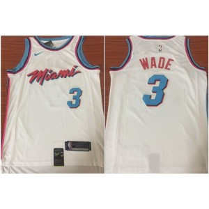 NBA Heat 3 Dwyane Wade White Nike City Edition Swingman Men Jersey