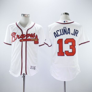 MLB Braves 13 Ronald Acuna Jr White Flexbase Men Jersey