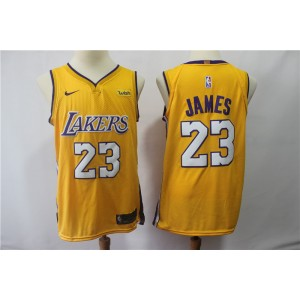 NBA Lakers 23 LeBron James Yellow Swingman Nike Men Jersey