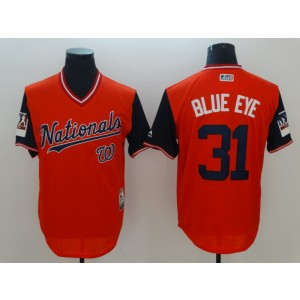 MLB Nationals 31 Max Scherzer Blue Eye Red 2018 Players' Weekend Men Jersey