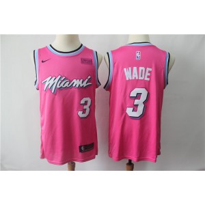 NBA Heat 3 Dwyane Wade Pink Earned Edition Nike Men Jersey