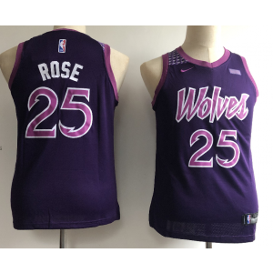 51ae04f2f04 NBA Timberwolves 25 Derrick Rose 2018-19 City Edition Purple Nike Youth  Jersey