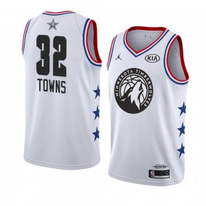 919fd5a9807 NBA Timberwolves 32 Karl-Anthony Towns 2019 All-Star White Swingman Men  Jersey