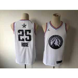 b7436c06d NBA Timberwolves 25 Derrick Rose 2019 All-Star White Swingman Men Jersey