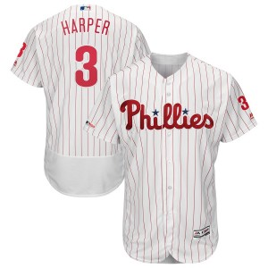 MLB Phillies 3 Bryce Harper White 150th Patch Flexbase Men Jersey