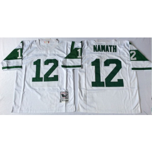 NFL Jets 12 Joe Namath White M&N Throwback Men Jersey
