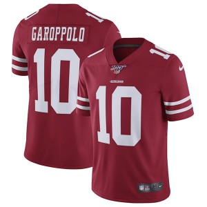 NFL San Francisco 49ers 100th 10 Jimmy Garoppolo Red Vapor Untouchable Limited  Men Jersey