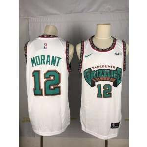 NBA Grizzlies 12 Ja Morant White Nike Throwback Men Jersey