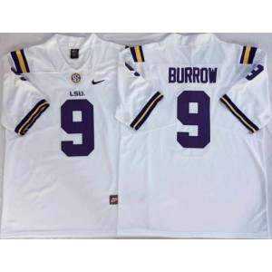 NCAA LSU Tigers 9 Joe Burrow White Nike College Football Men Jersey
