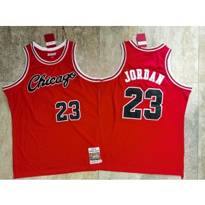 NBA Bulls 23 Jordan Mitchell&Ness Red 1984 Throwback Men Jersey