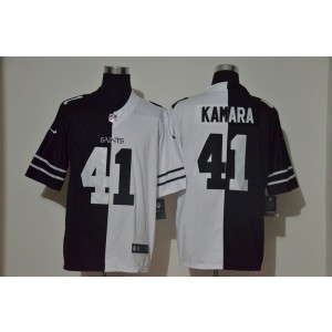 Nike Saints 41 Alvin Kamara Black And White Split Vapor Limited Men Jersey