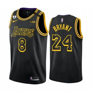 NBA Lakers  8 & 24 Kobe Bryant With Gigi Patch Black Men Jersey