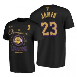 NBA Lakers 23 LeBron James 2020 NBA Finals Champions Black Locker Room T-Shirt